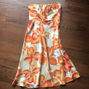 Tropical silk strapless dress